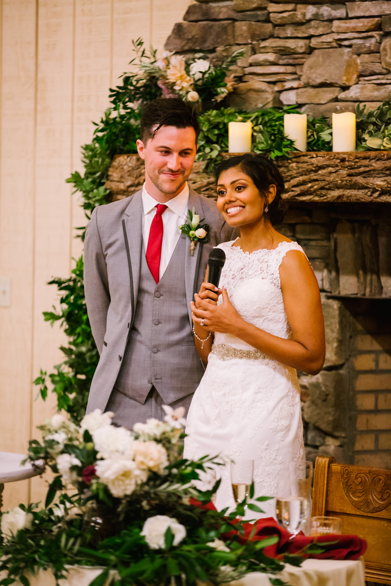 Waynesville NC Wedding Photography | Bride says a word of thanks during Reception