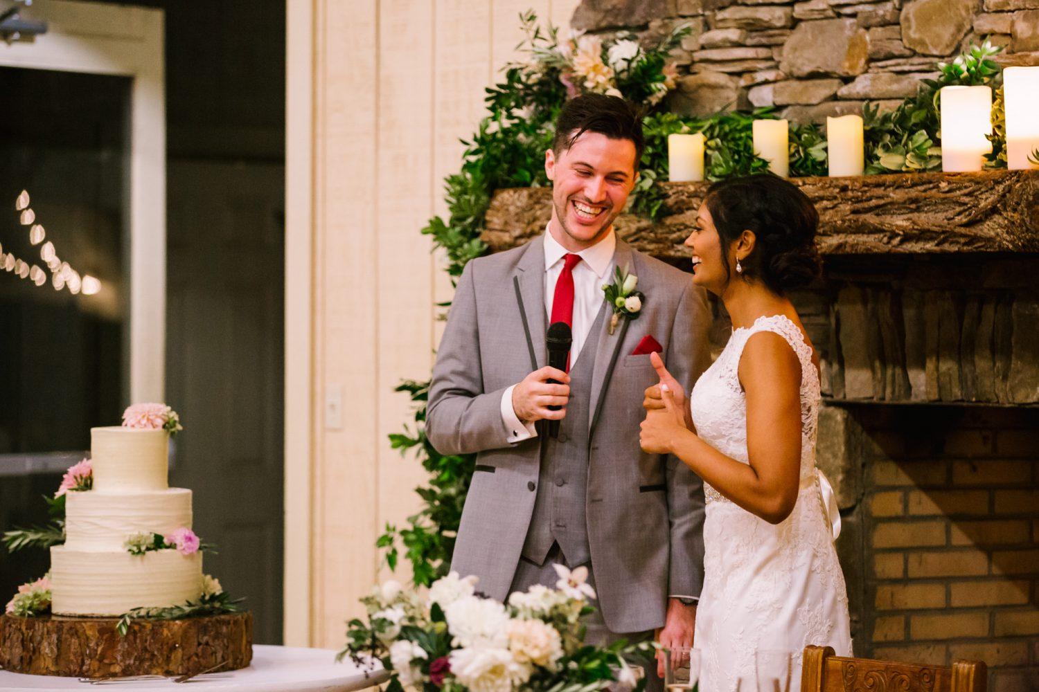 Waynesville NC Wedding Photography | Groom says a word of thanks Reception Laughing