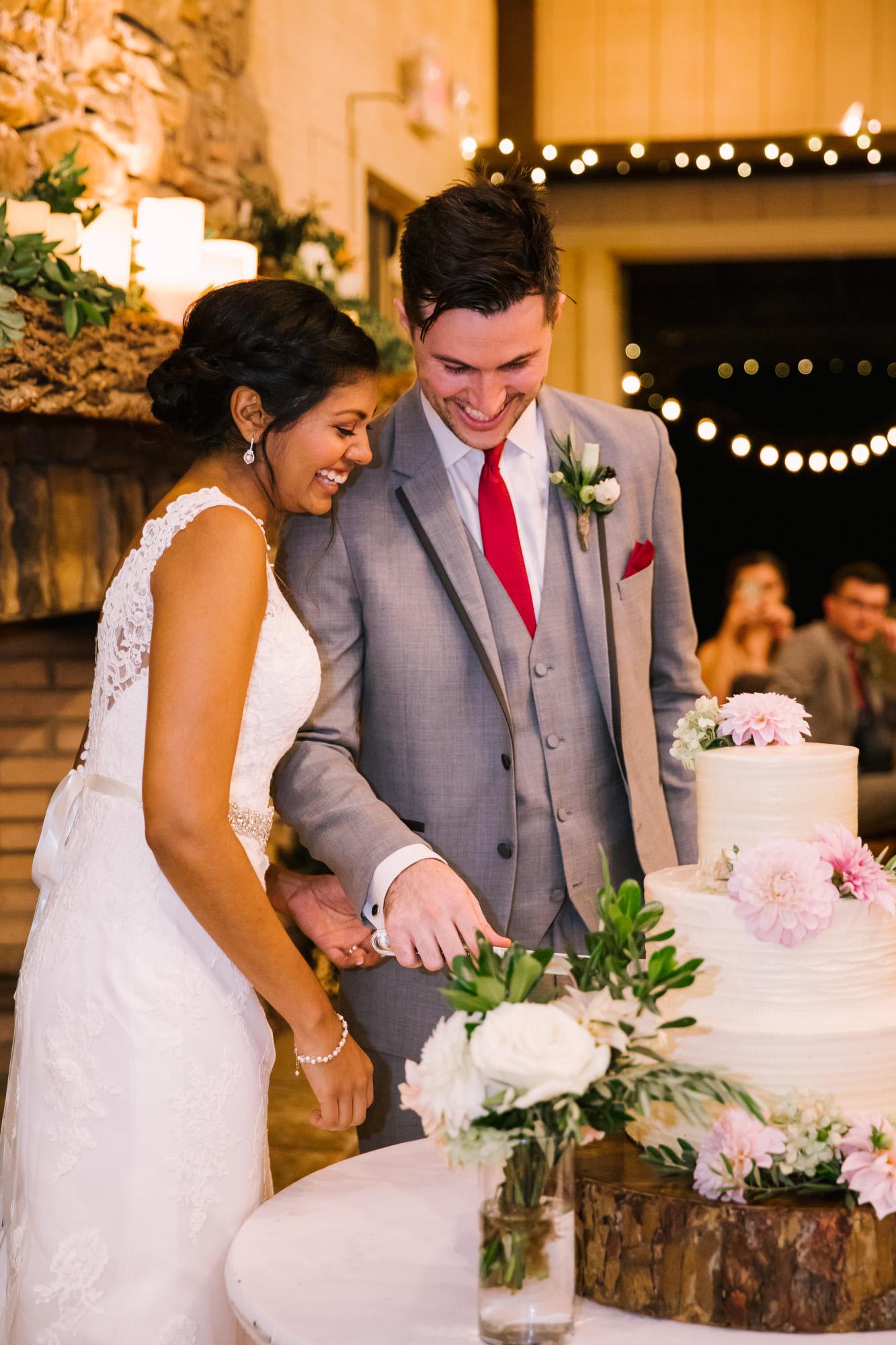 Waynesville NC Wedding Photography | Bride and Groom Cut Cake