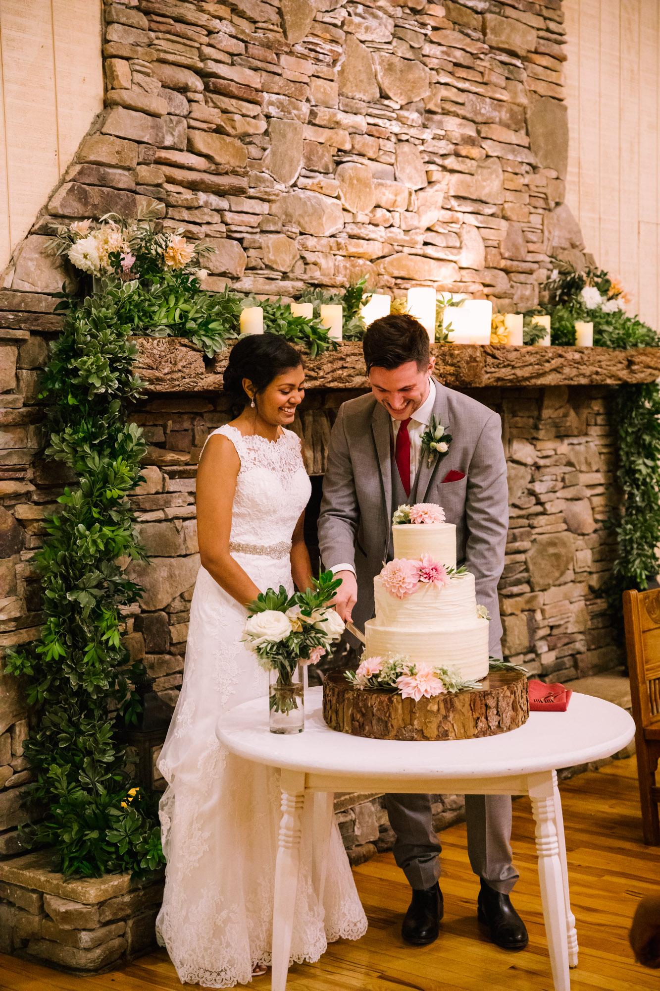 Waynesville NC Wedding Photography | Bride and Groom Cut Cake Full Body