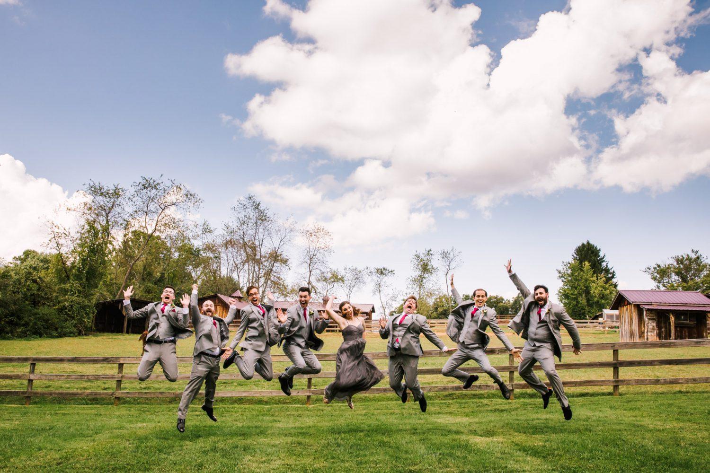 Waynesville NC Wedding Photography | Groomsmen Jumping