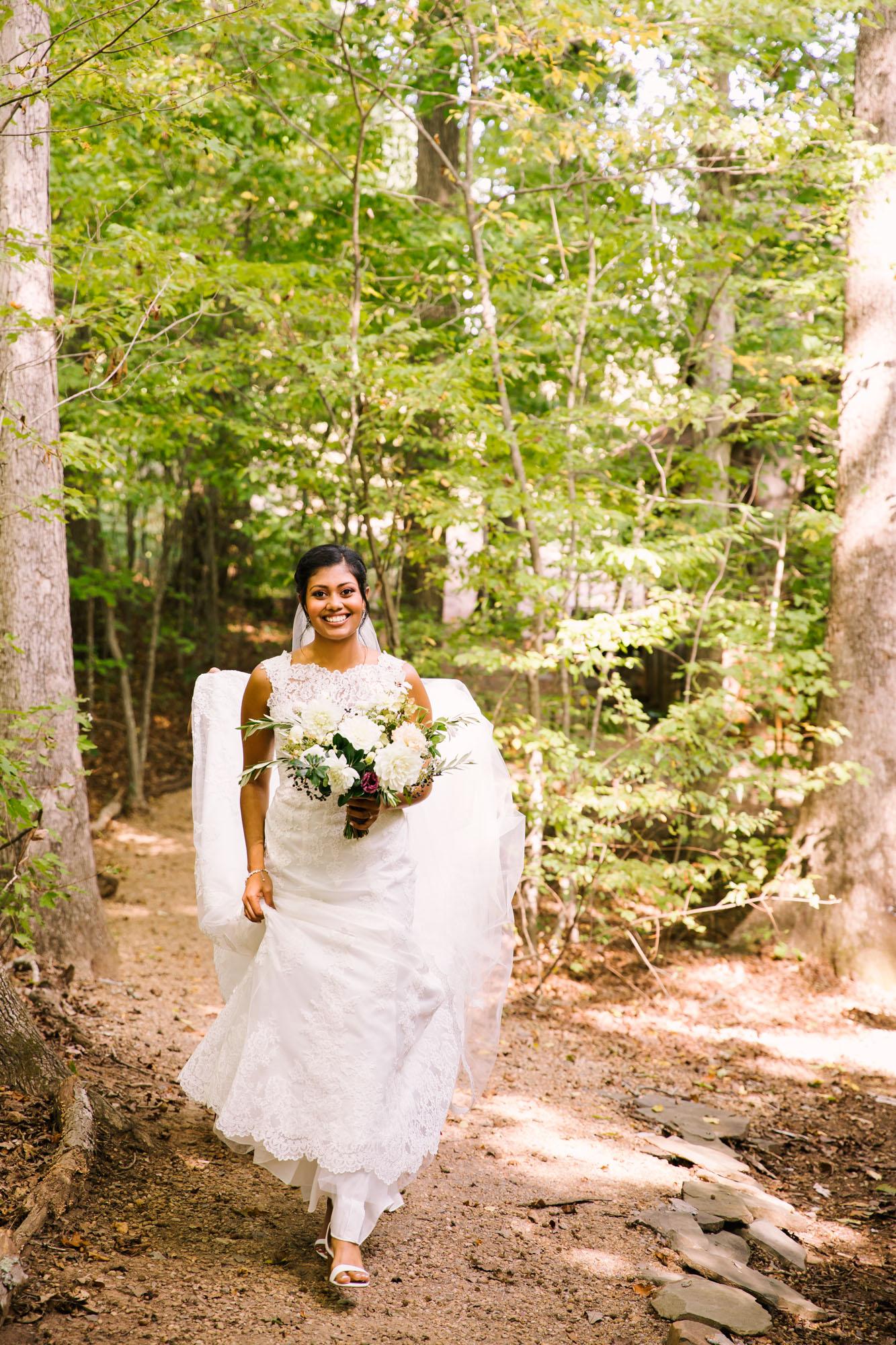 Waynesville NC Wedding Photography | Bride in the Woods