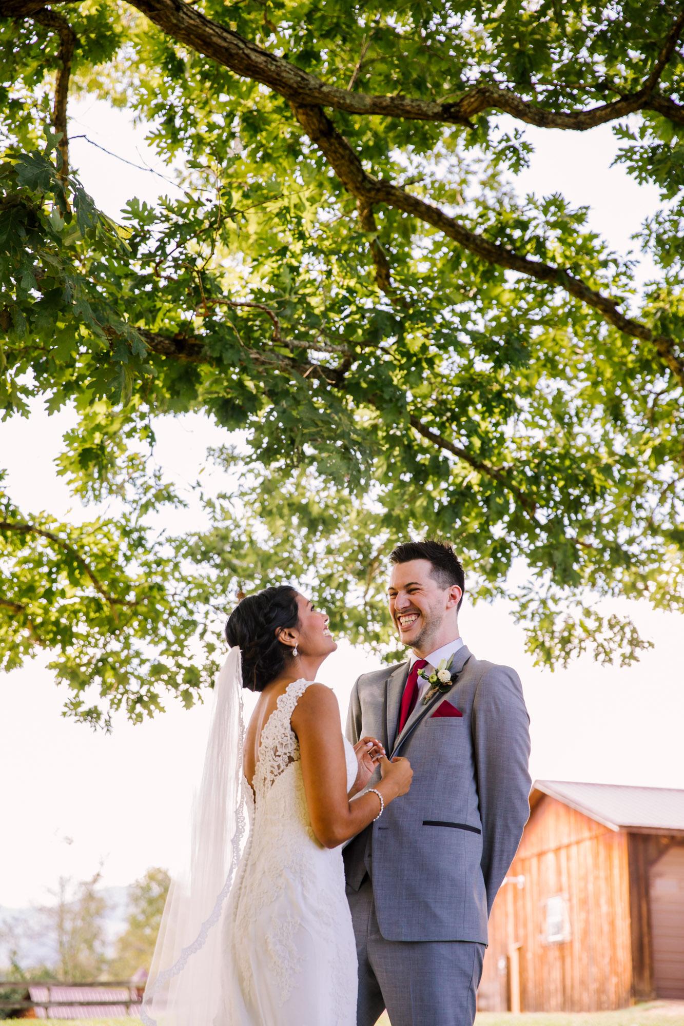 Waynesville NC Wedding Photography | Bride and Groom Laughing