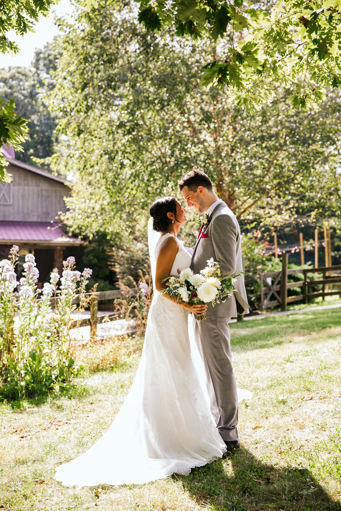 Waynesville NC Wedding Photography | Bride and Groom Sunny Portrait