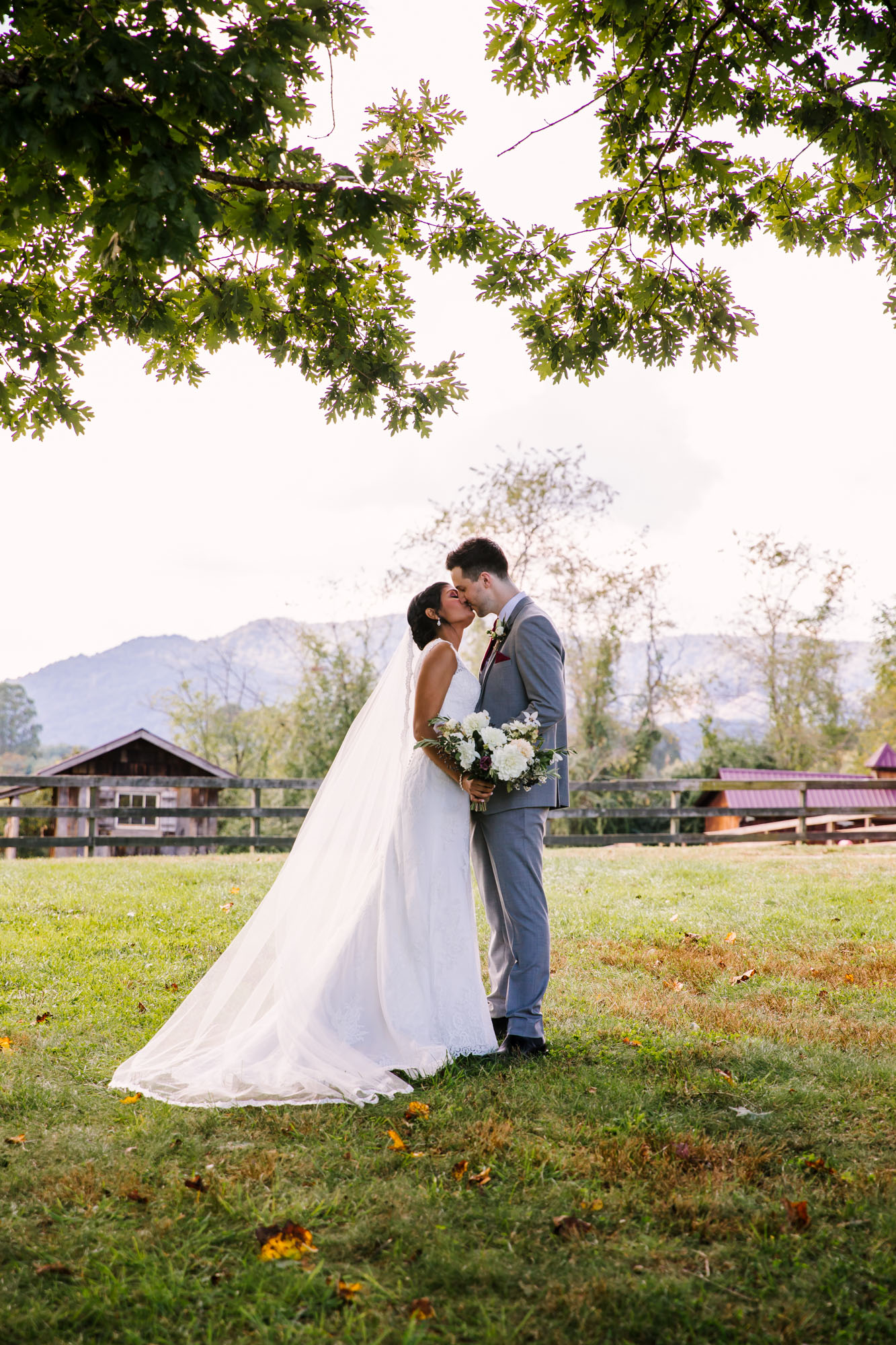 Waynesville NC Wedding Photography | Bride and Groom Portrait on the Farm