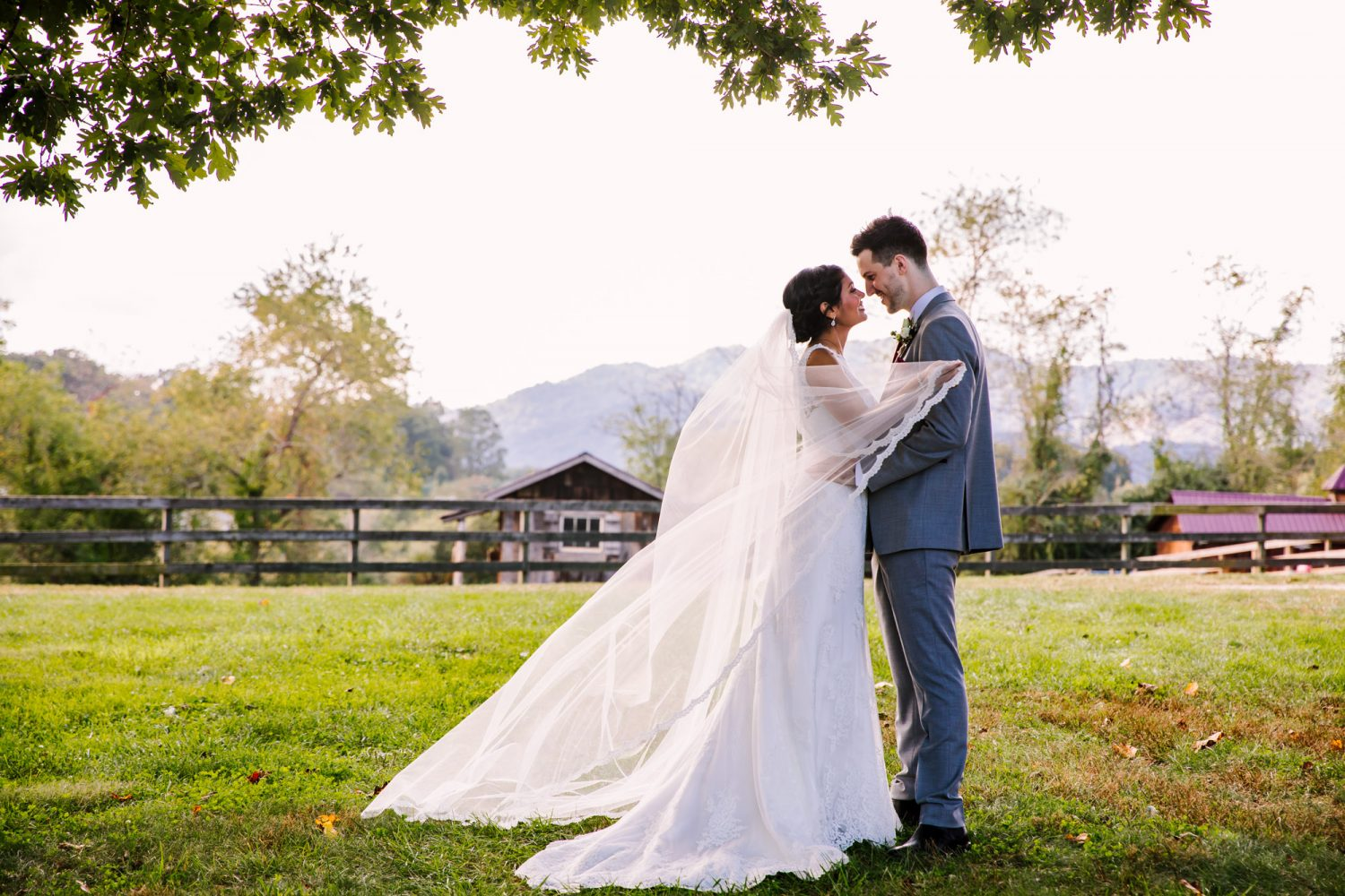 Waynesville NC Wedding Photography | Bride and Groom Portrait with Swooping Veil