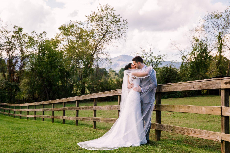 Waynesville NC Wedding Photography | Groom Swept up in Bride's Veil