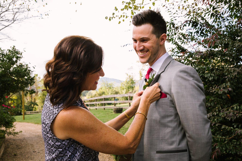 Waynesville NC Wedding Photography | Boutonniere Pinning