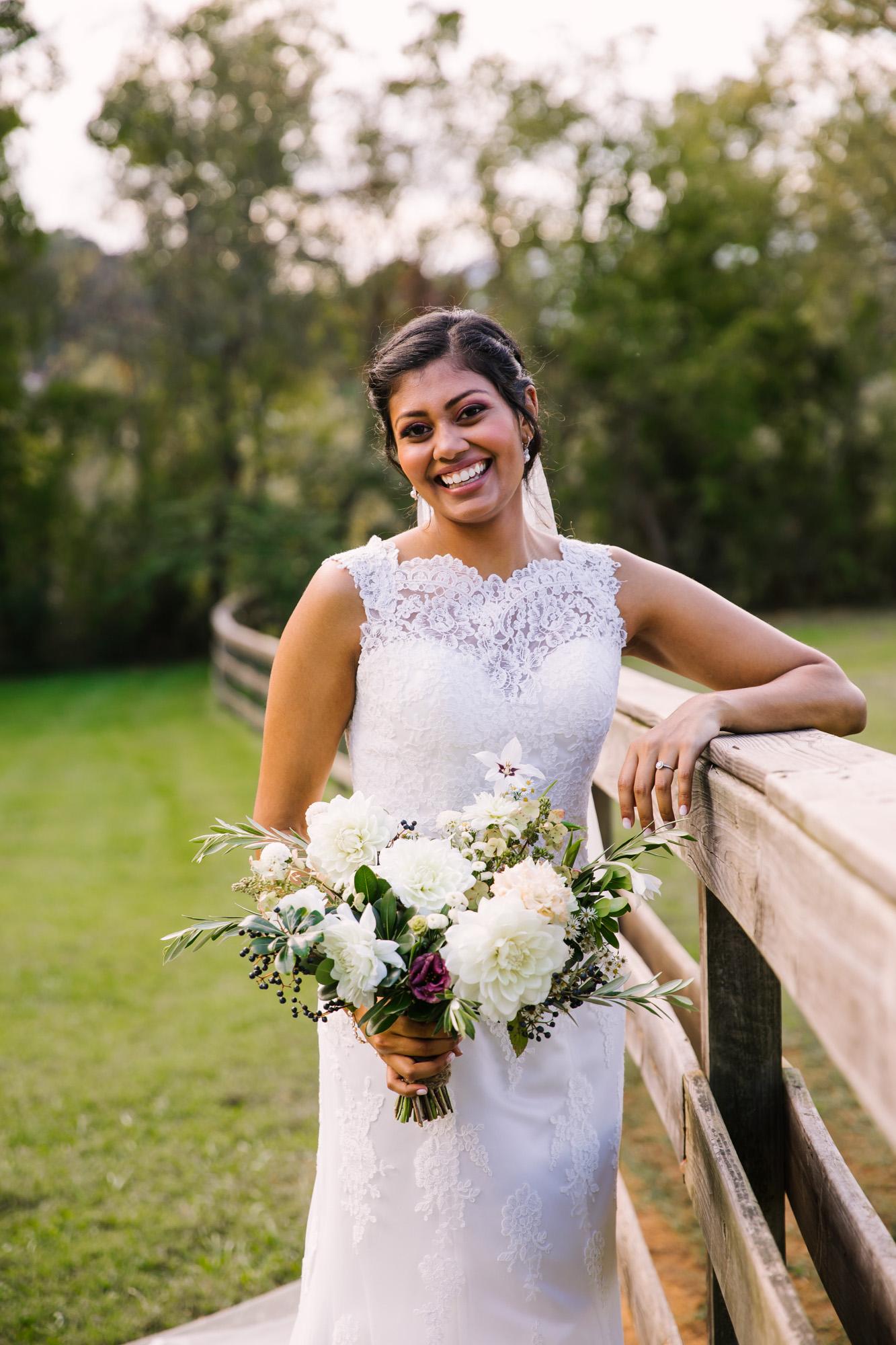Waynesville NC Wedding Photography | Bride Solo Portrait Laughing