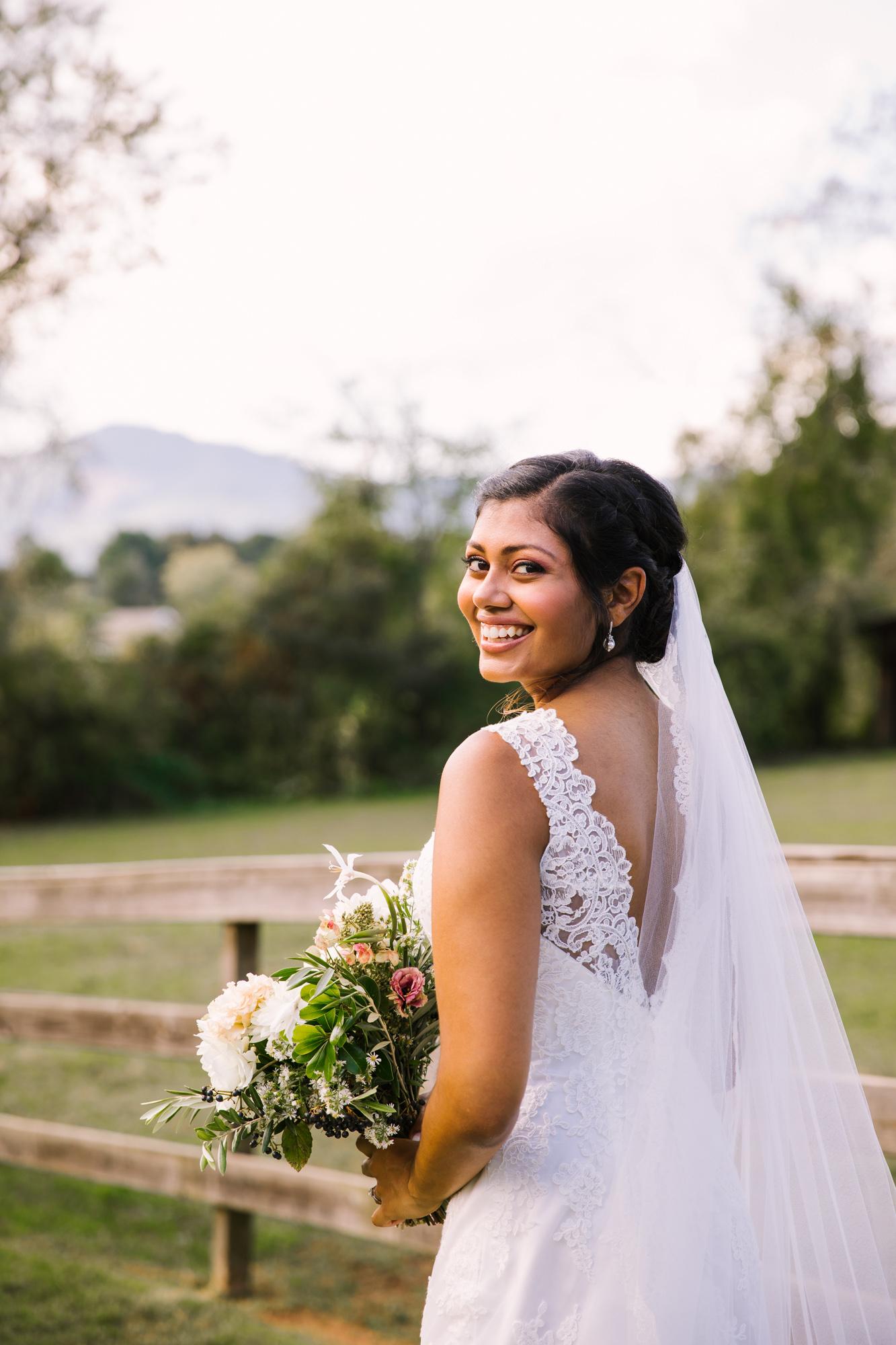 Waynesville NC Wedding Photography | Bridal Portrait Looking over shoulder