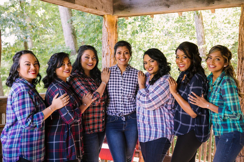 Waynesville NC Wedding Photography | Bridesmaids in their flannels