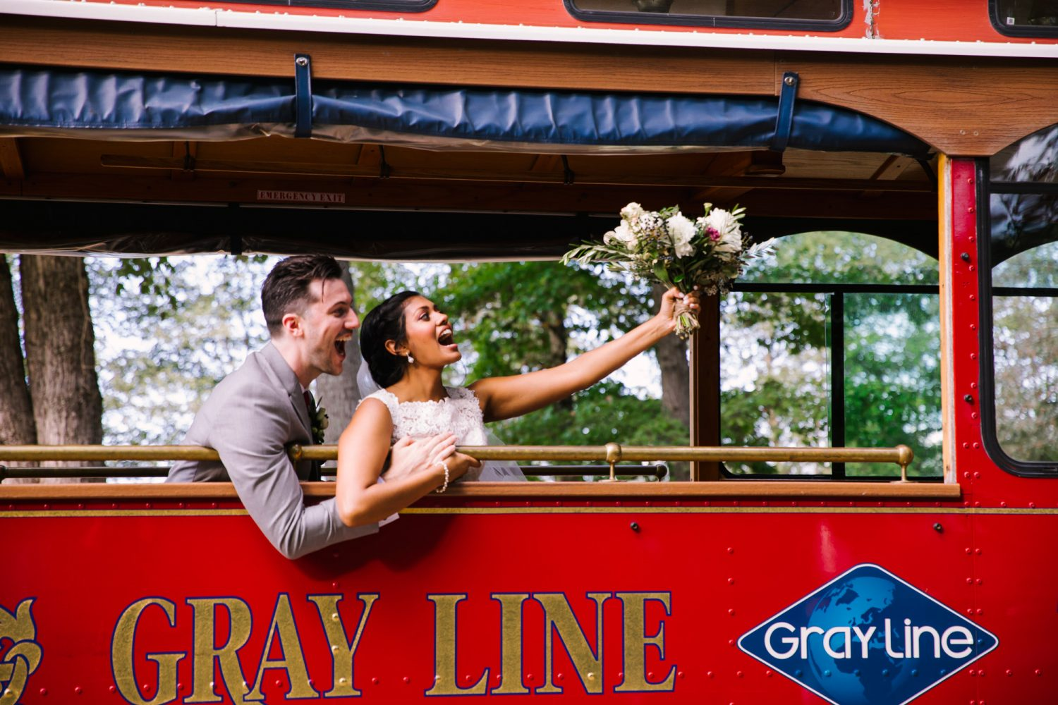 Waynesville NC Wedding Photography | Bride and Groom on Gray Line Trolly