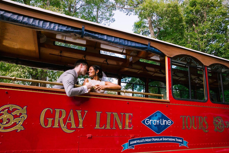Waynesville NC Wedding Photography | Bride and Groom on Gray Line Trolly