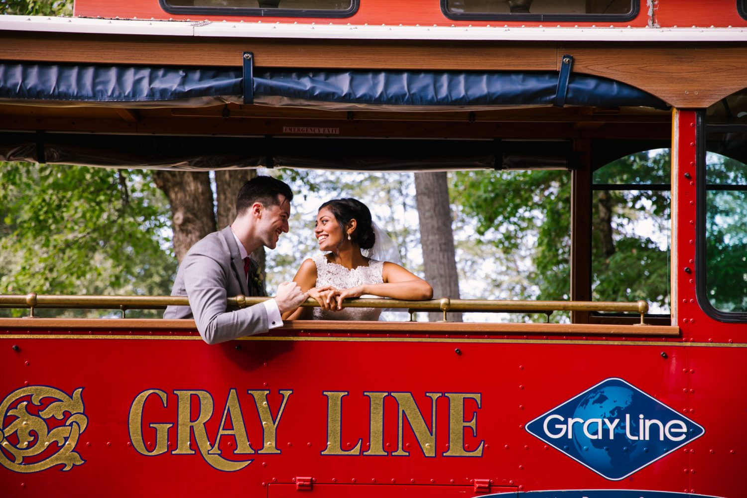 Waynesville NC Wedding Photography | Bride and Groom Taking a ride on the Trolly