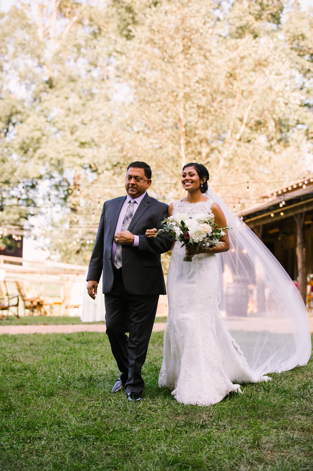Waynesville NC Wedding Photography | Bride Being Escorted by her Father