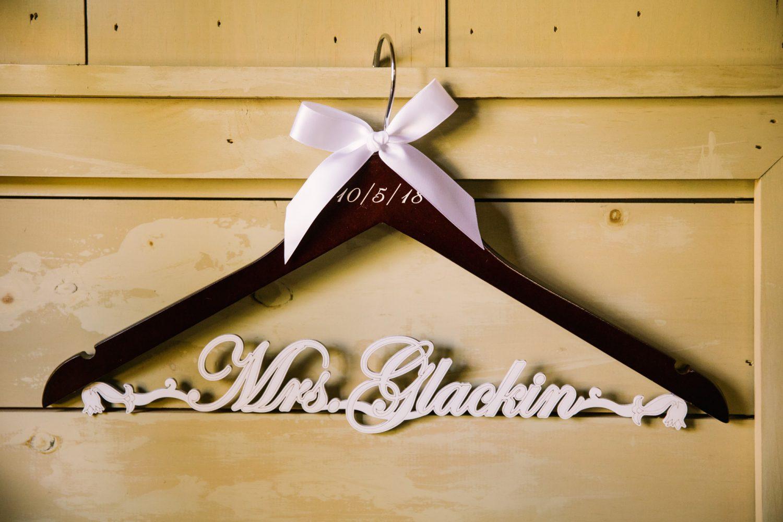 Waynesville NC Wedding Photography | Custom Details - Wedding Dress Hanger