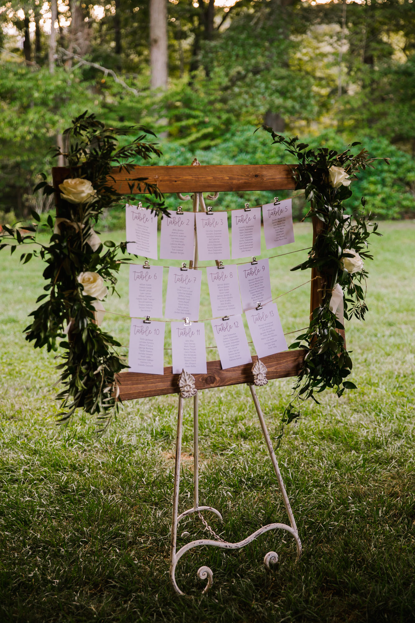 Waynesville NC Wedding Photography | Reception Table Seating Chart