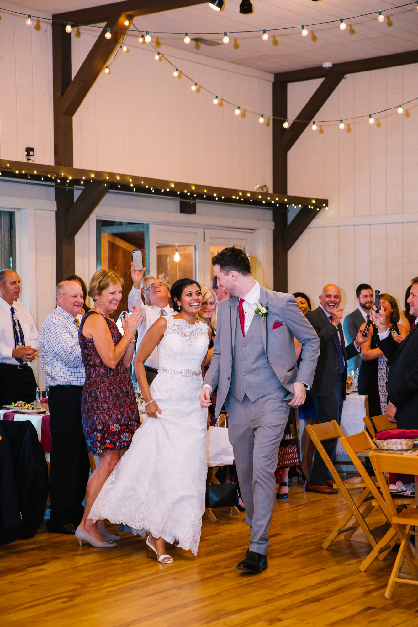 Waynesville NC Wedding Photography | Bride and Groom Reception Entrance