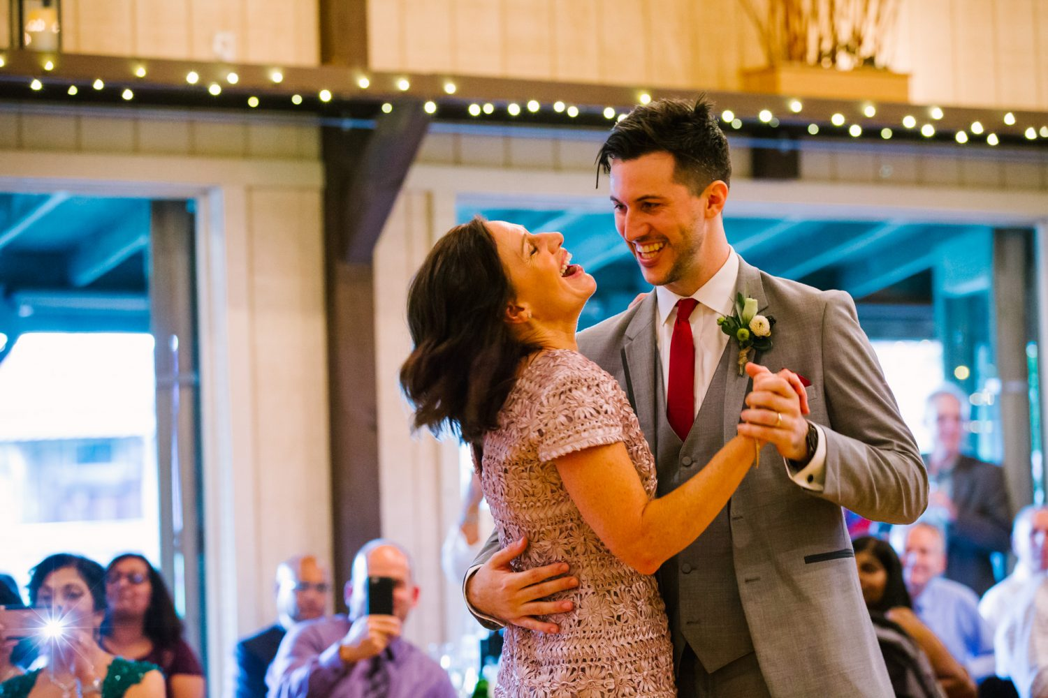 Waynesville NC Wedding Photography | Wedding Reception Mother Son Dance Laughing