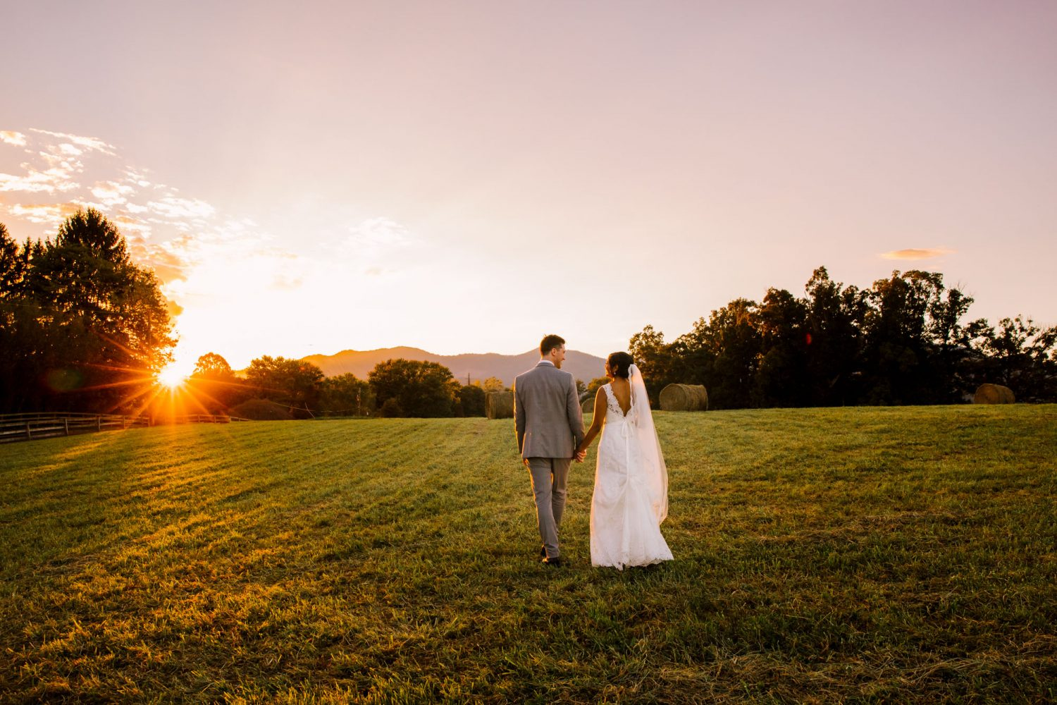 Waynesville NC Wedding Photography | Bride and Groom Sunset Portrait on the Farm