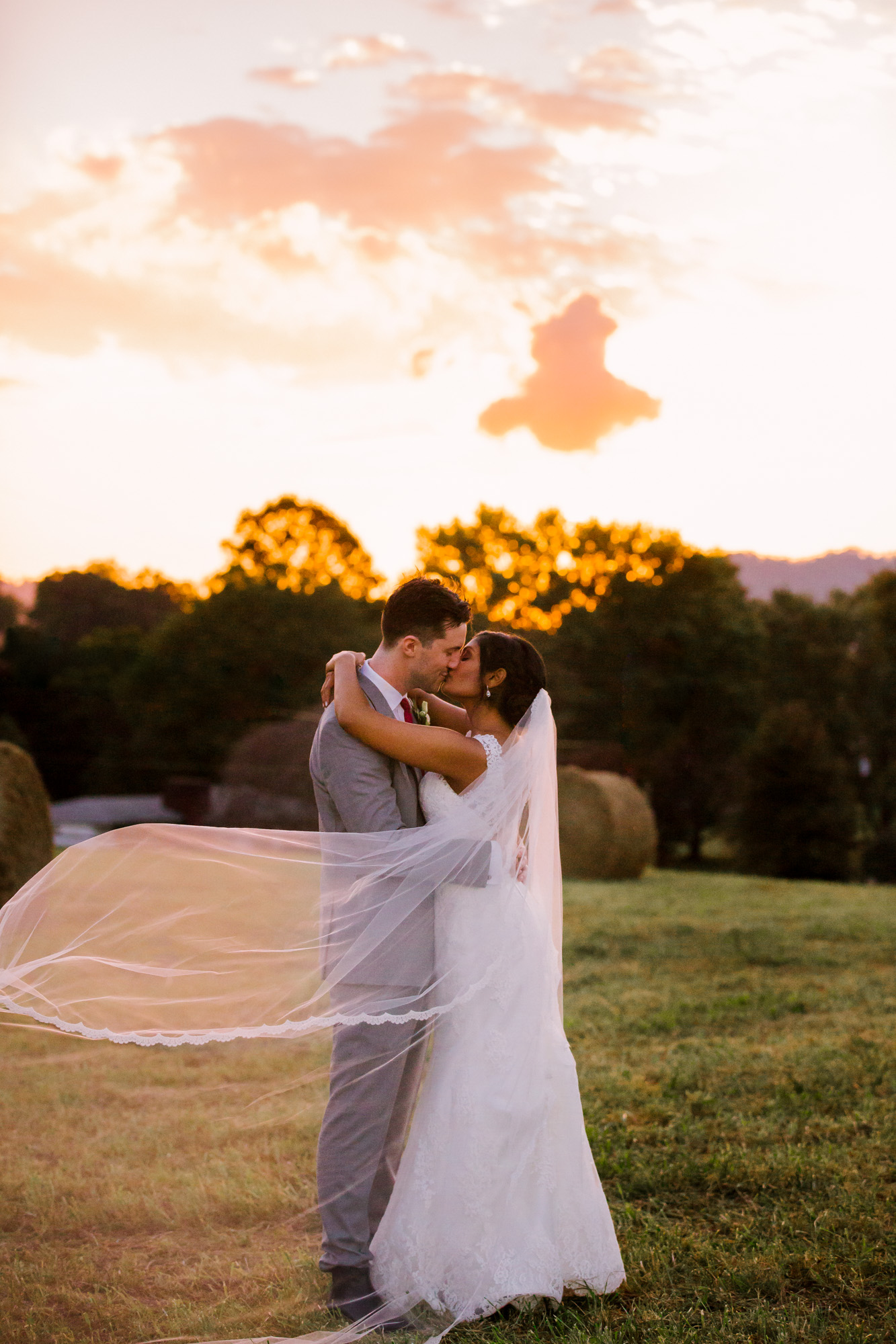 Waynesville NC Wedding Photography | Bride and Groom Portrait Sunset Kissing