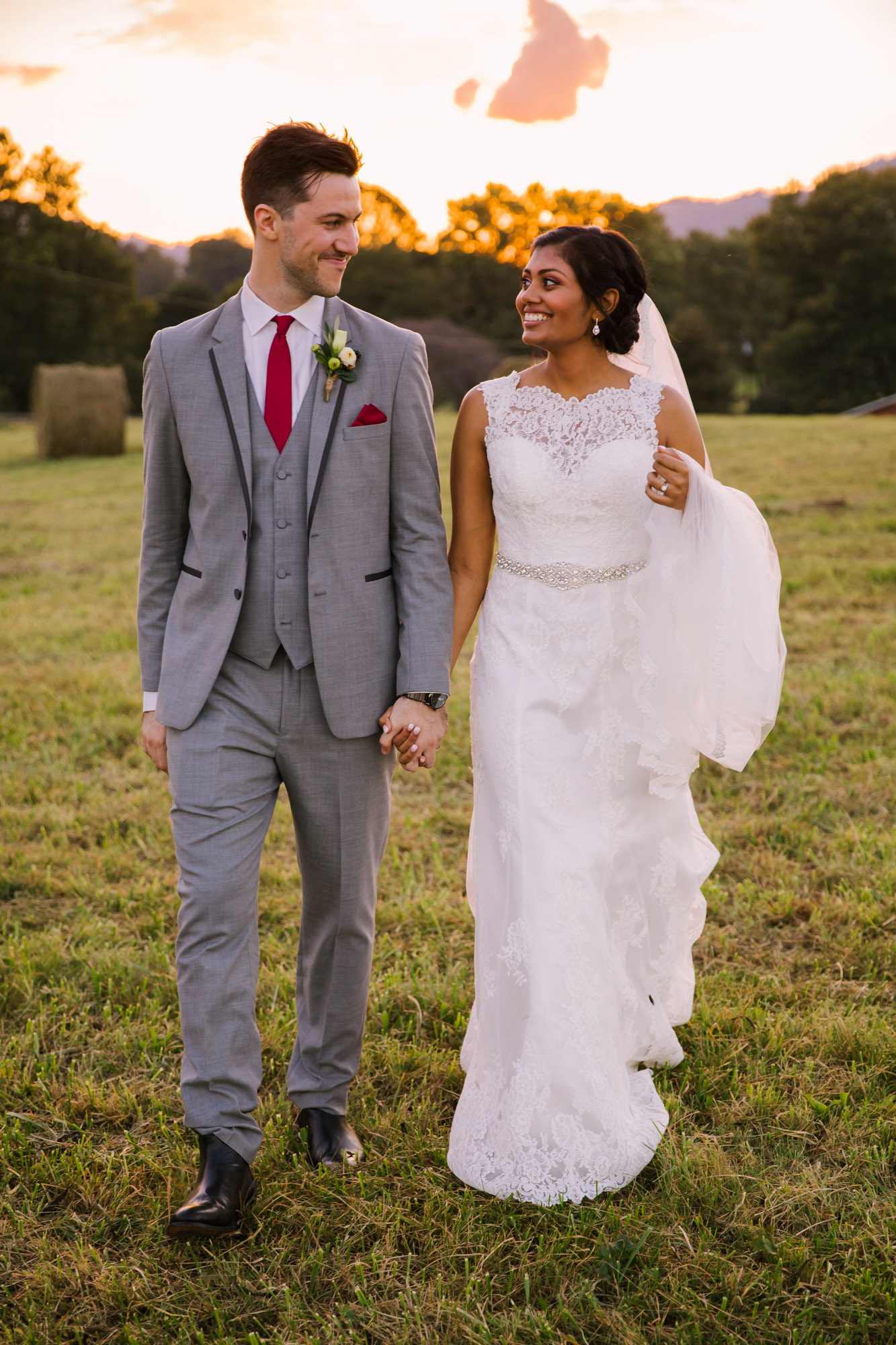 Waynesville NC Wedding Photography | Bride and Groom Smiling at Sunset