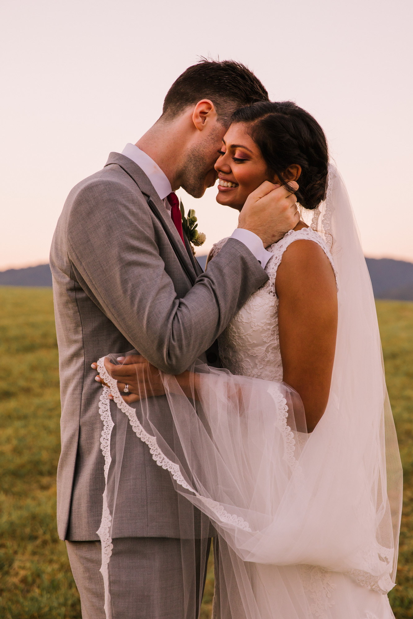 Waynesville NC Wedding Photography | Groom Whispers in Bride's Ear
