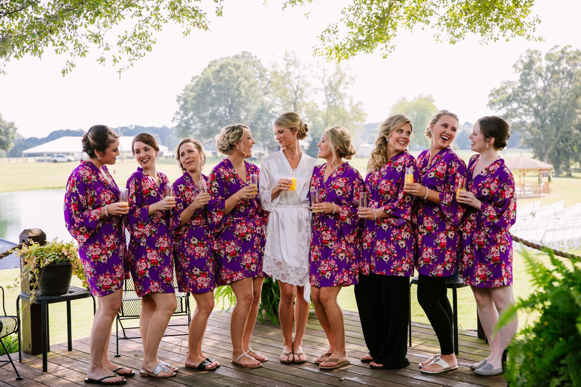 Waynesville, NC Wedding Photography | Bridesmaids with Mimosas