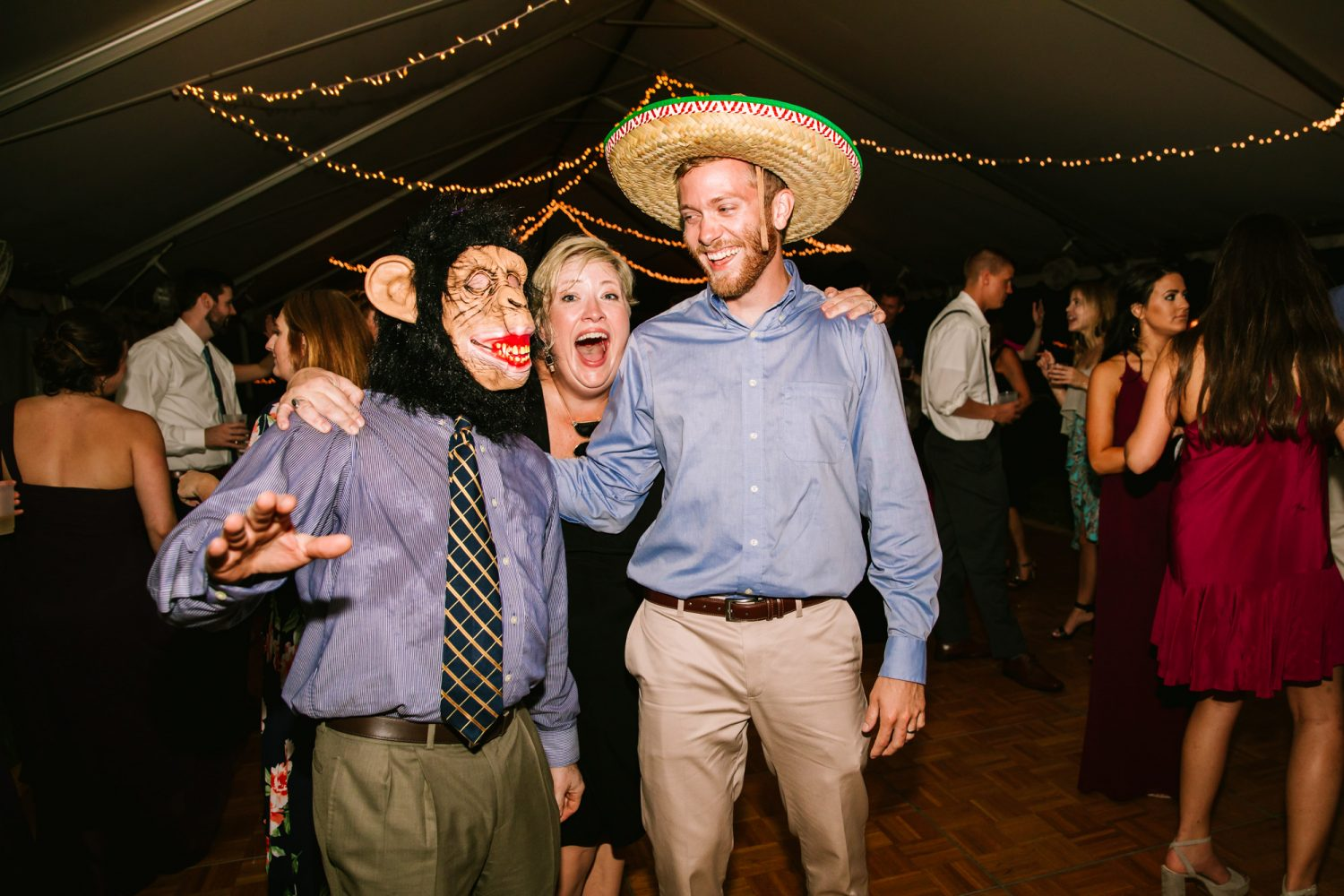 Waynesville, NC Wedding Photography | Wedding Reception Dance Floor with Photo Booth Props