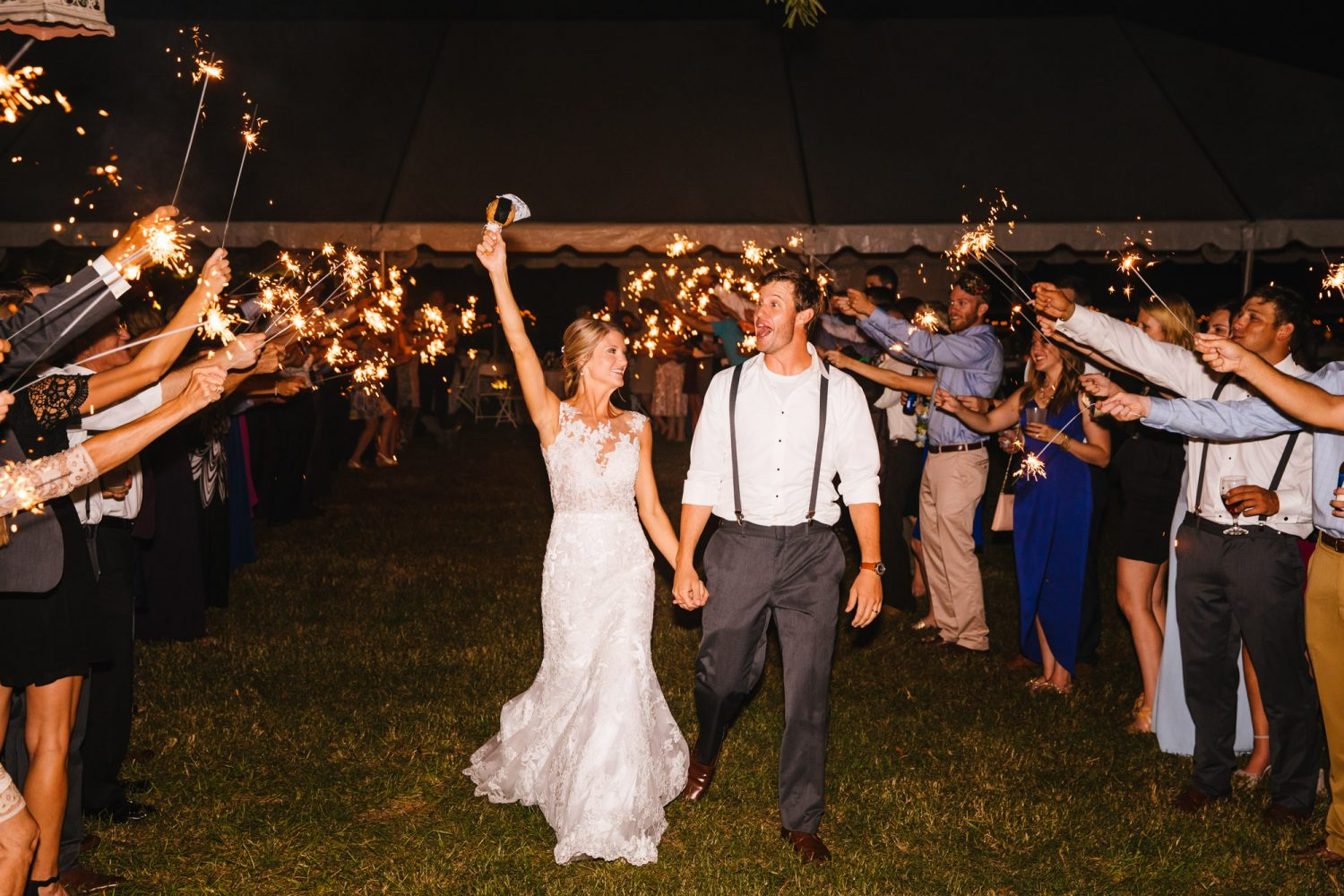 Waynesville, NC Wedding Photography | Wedding Reception Sparkler Exit