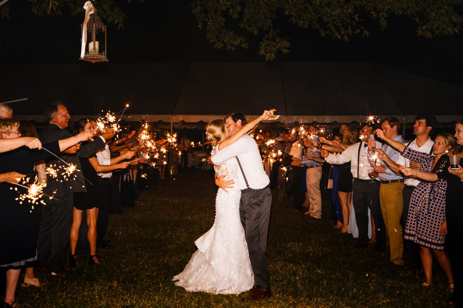 Waynesville, NC Wedding Photography | Bride and Groom Kissing at Sparkler Exit