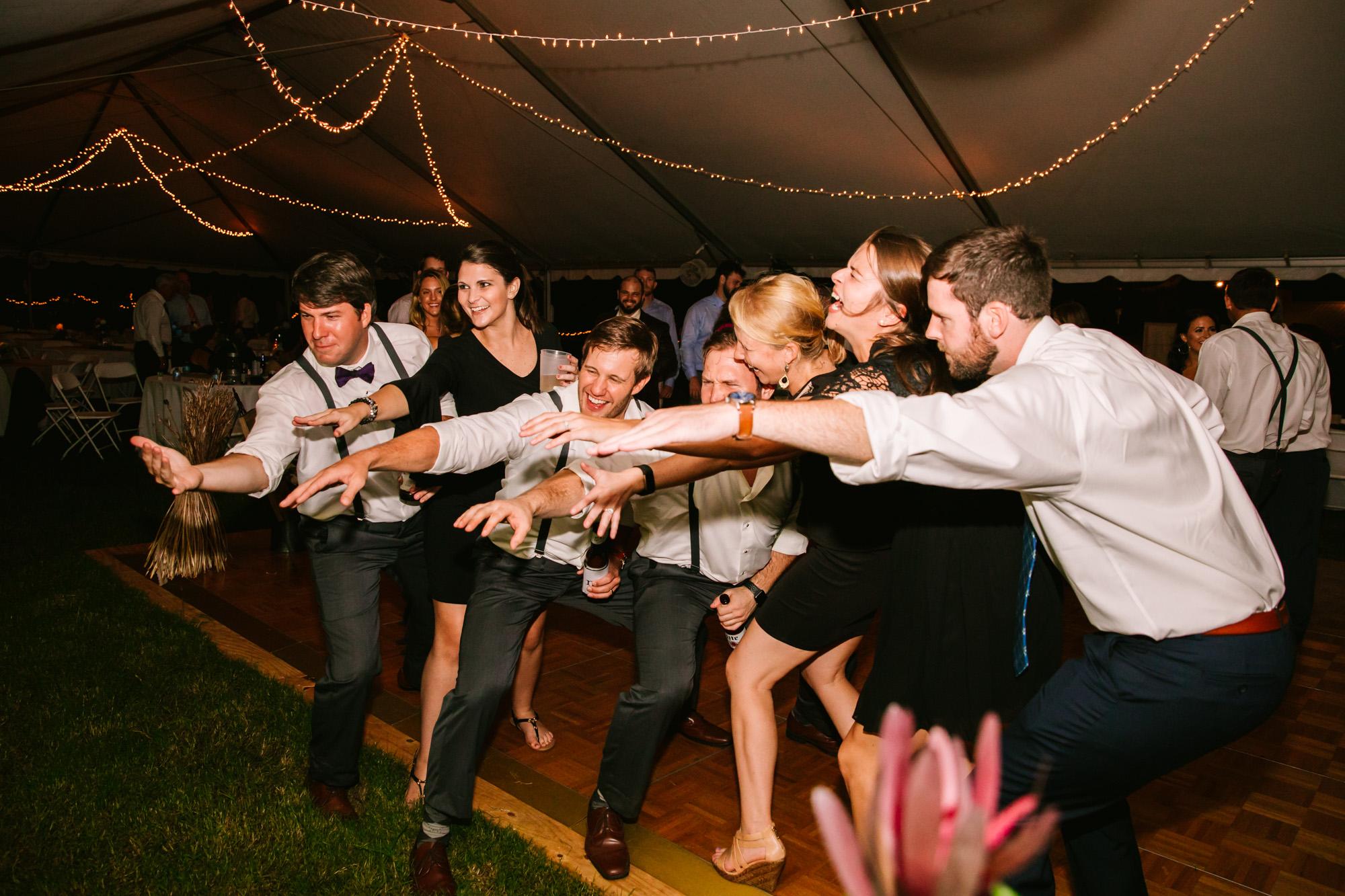 Waynesville, NC Wedding Photography | Wedding Reception Dance Floor Praising the Band