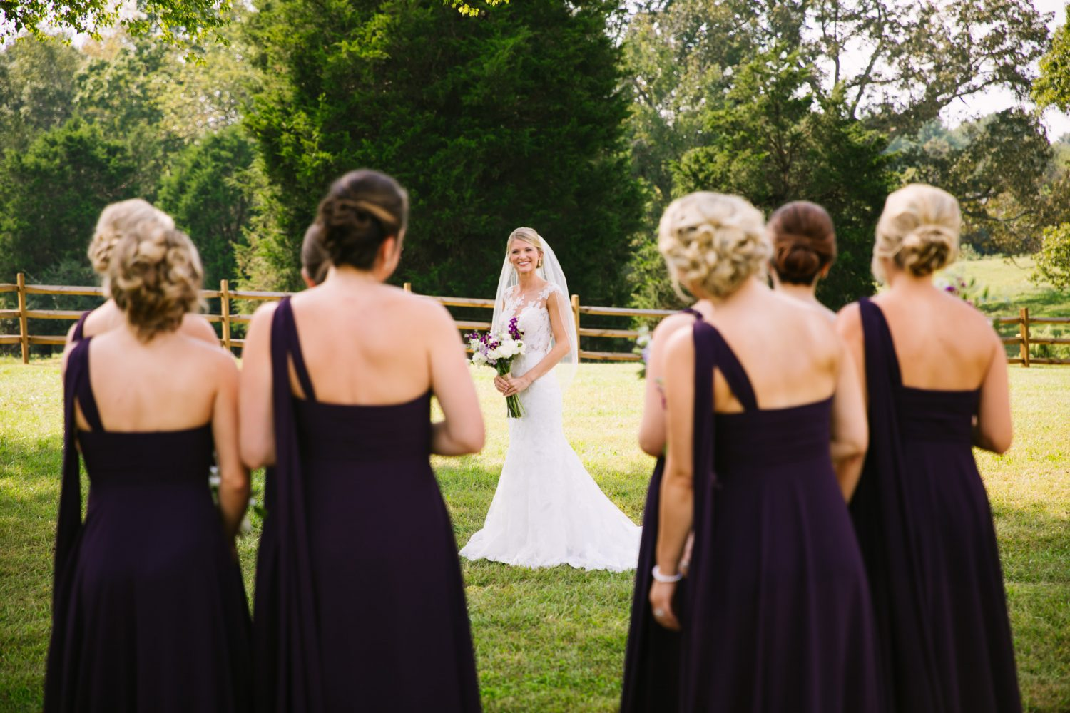 Waynesville, NC Wedding Photography | Bride looking at Bridesmaids