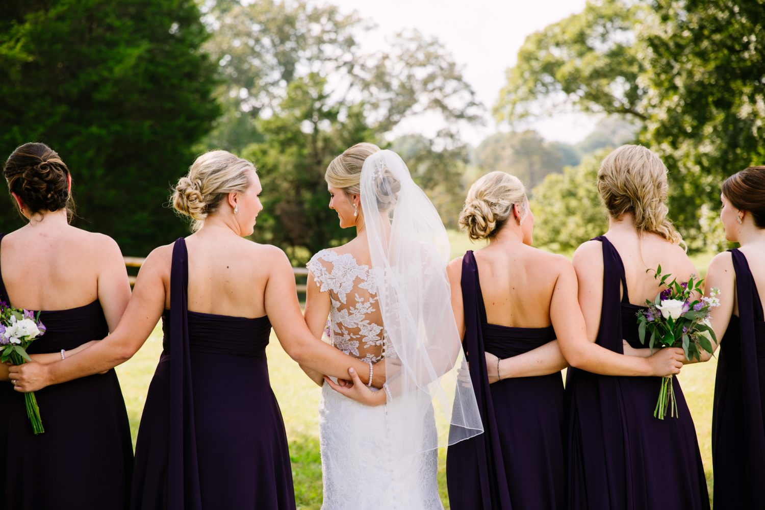 Waynesville, NC Wedding Photography | Bride and Bridesmaids Interlocking Arms