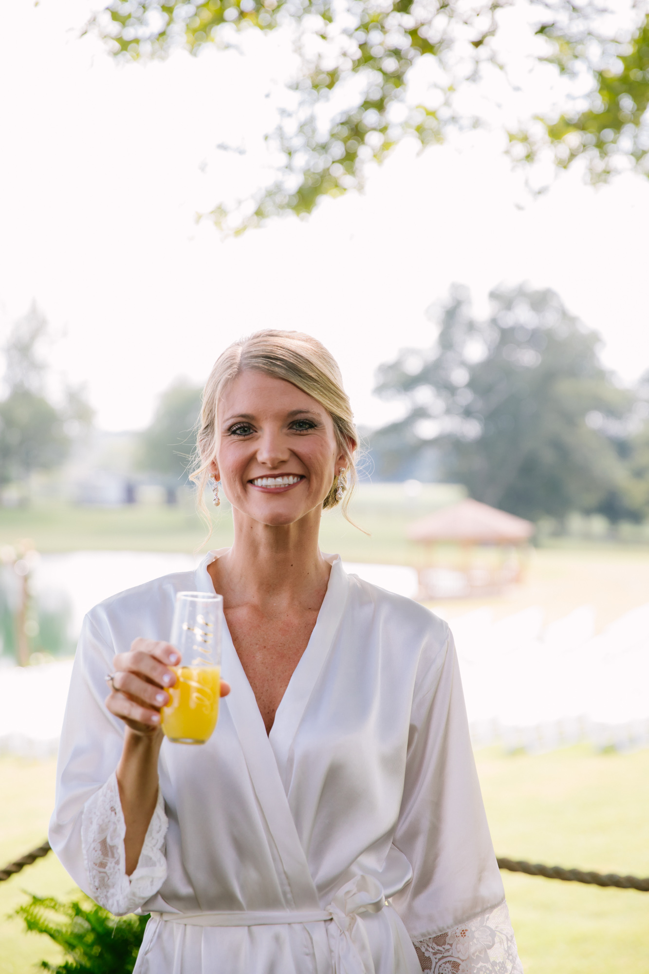 Waynesville, NC Wedding Photography | Bride with her Mimosa