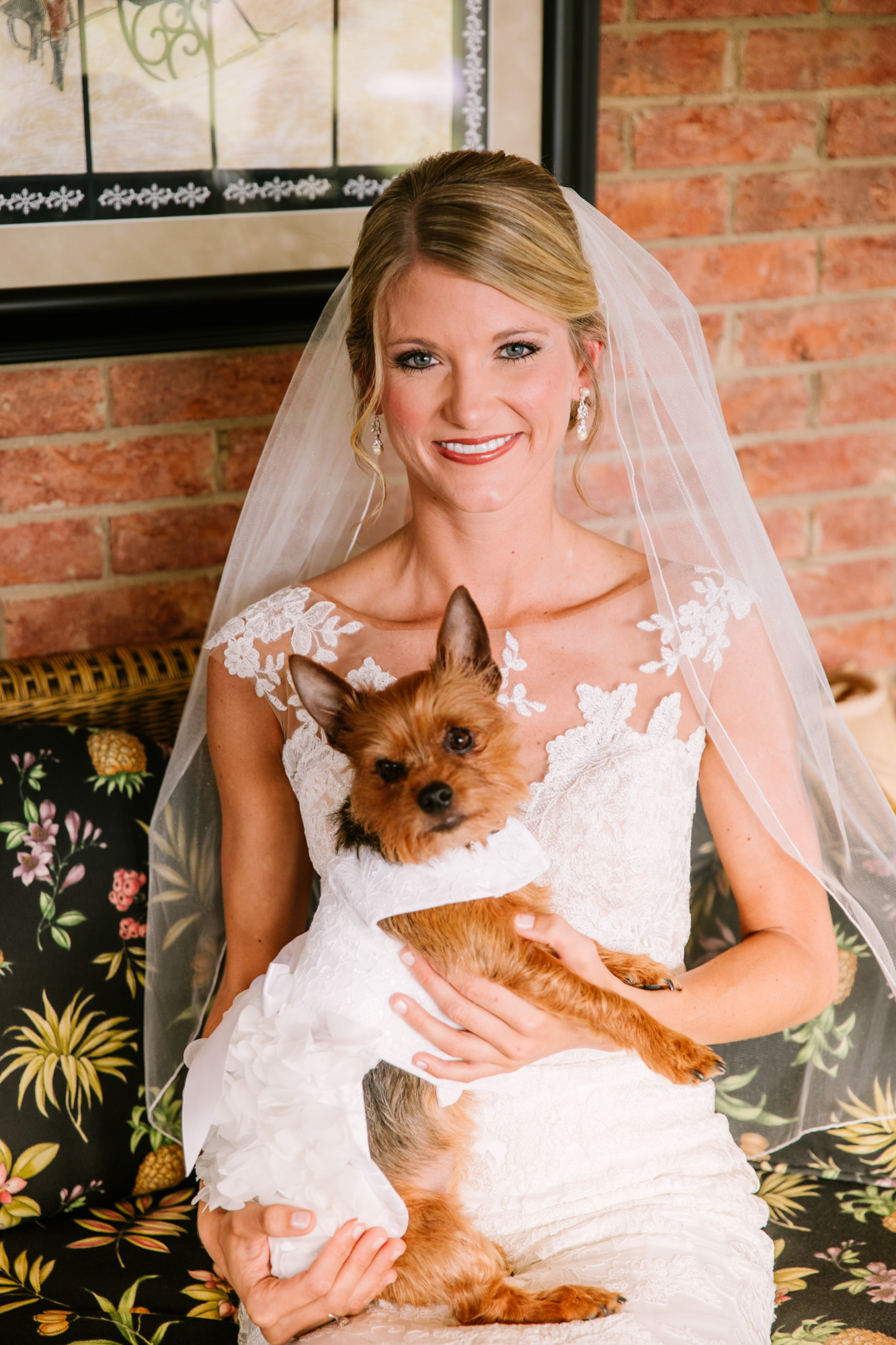 Waynesville, NC Wedding Photography | Bride with her Terrier