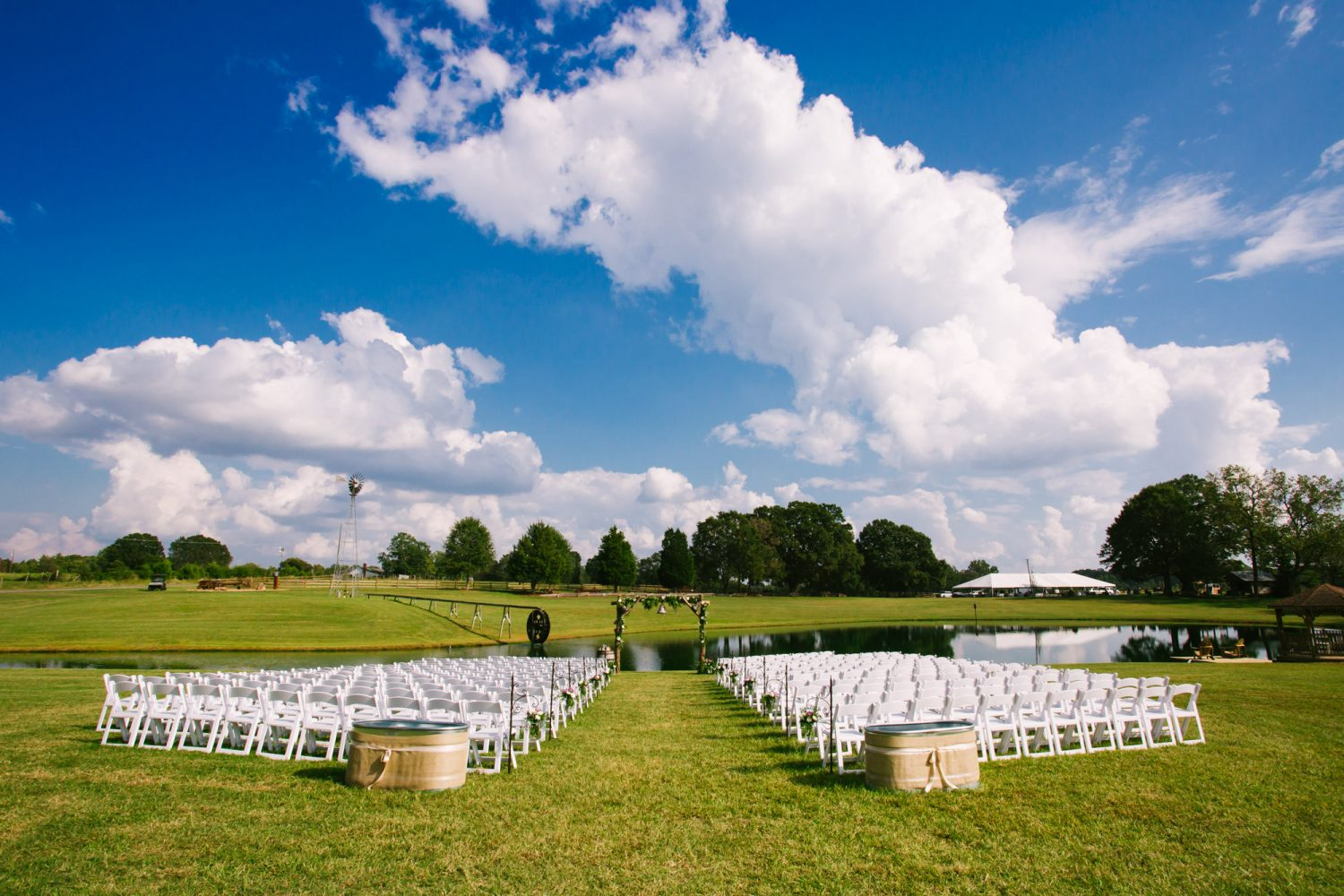 Waynesville, NC Wedding Photography | Wedding Ceremony Site on Farm by the Pond