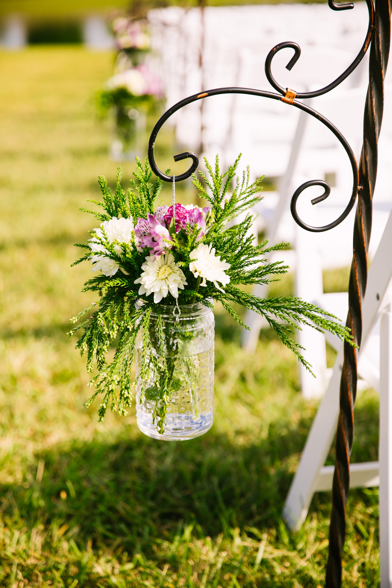 Waynesville, NC Wedding Photography | Wedding Ceremony Aisle Bouquets