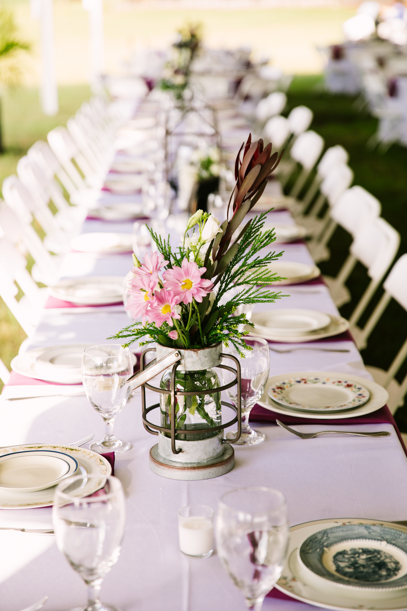 Waynesville, NC Wedding Photography | Wedding Reception Bridal Party Table Centerpiece