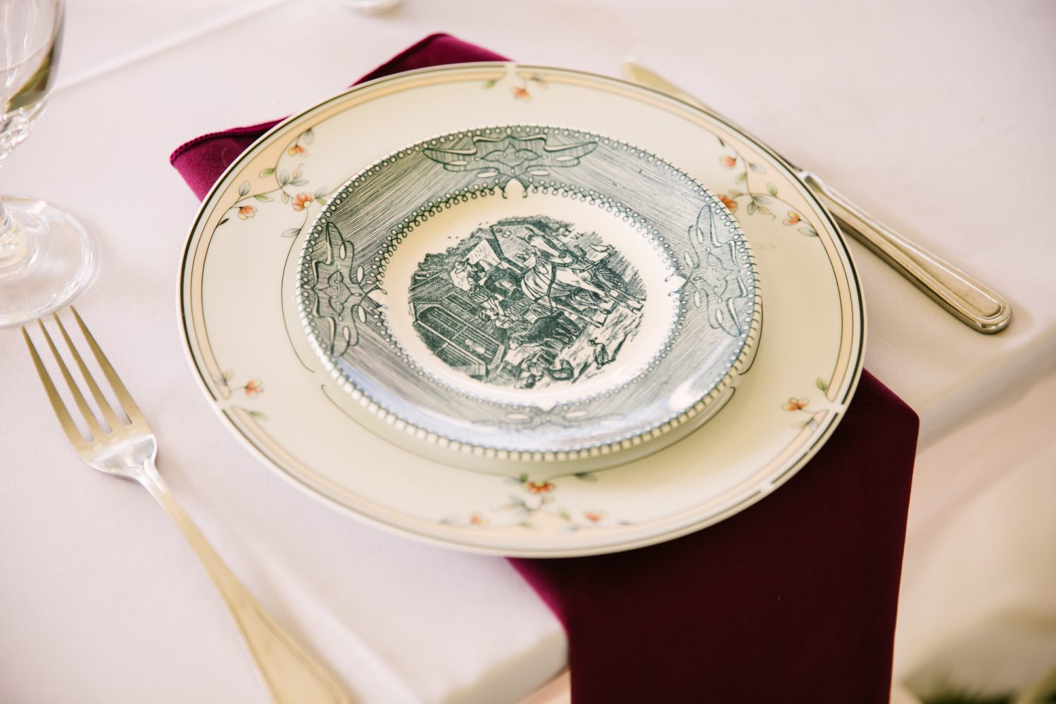 Waynesville, NC Wedding Photography | Wedding Reception Place Setting Detail China