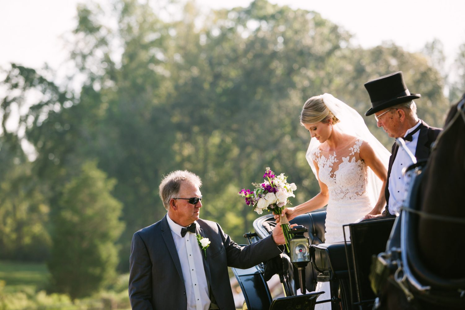 Waynesville, NC Wedding Photography | Father Helping Bride from Horse Carriage