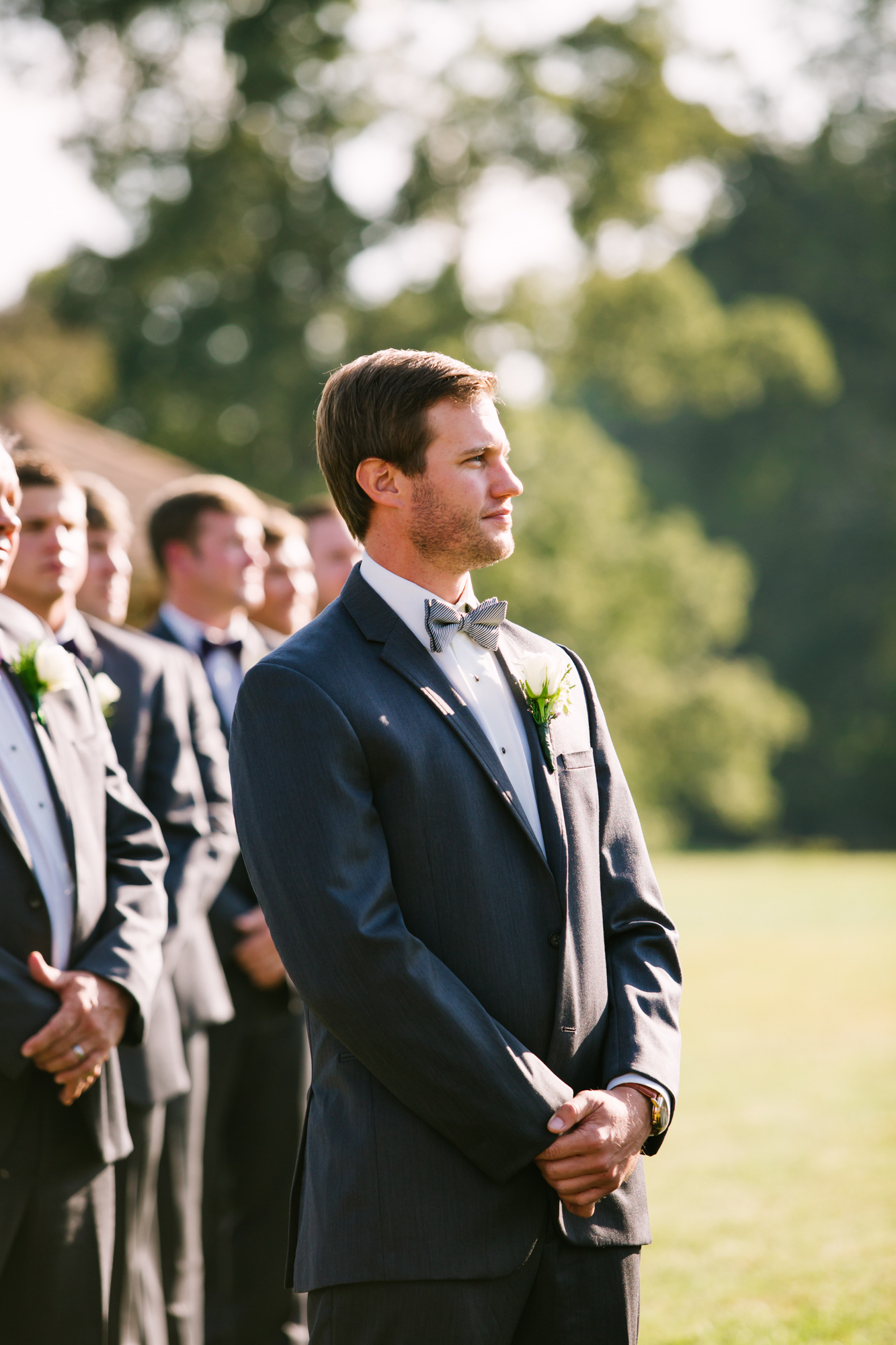 Waynesville, NC Wedding Photography | Wedding Ceremony Grooms Reaction to seeing Bride