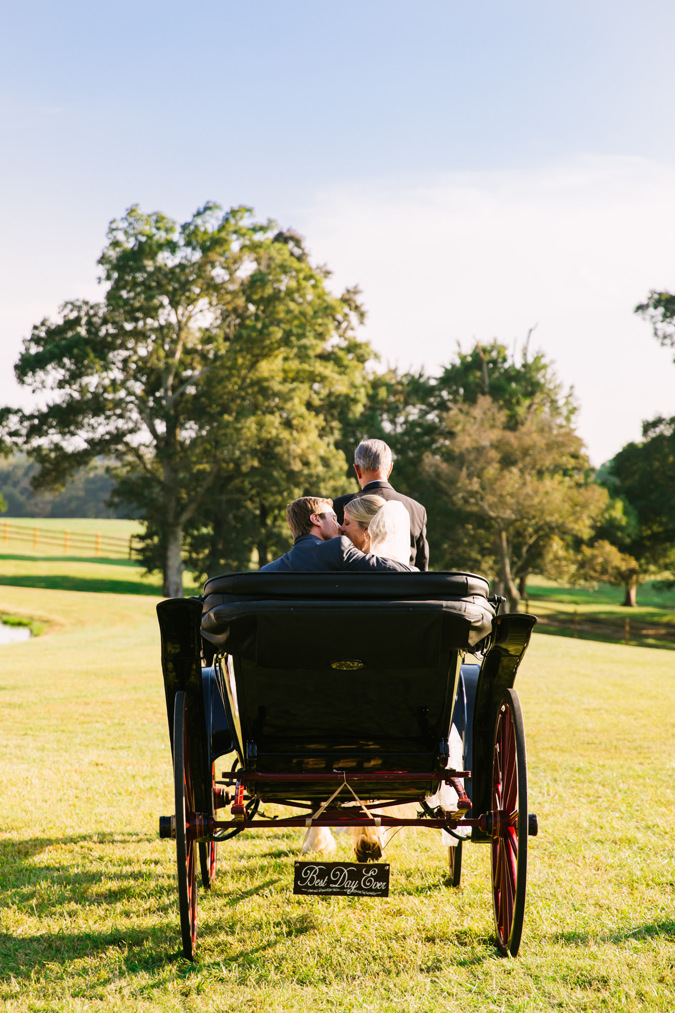 Waynesville, NC Wedding Photography | Bride and Groom Exiting on Horse Carriage Kissing