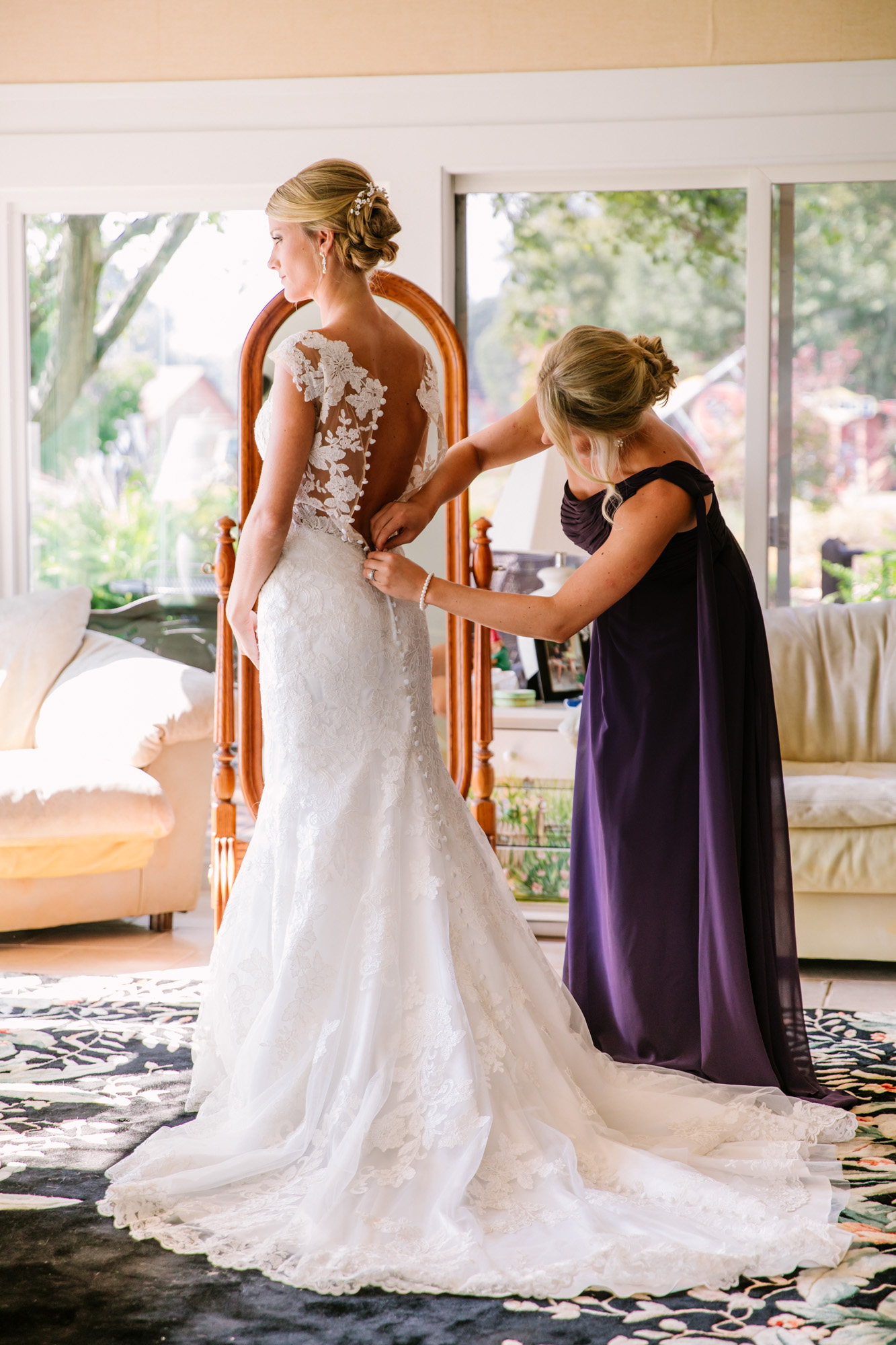 Waynesville, NC Wedding Photography | Mother getting Bride Dressed