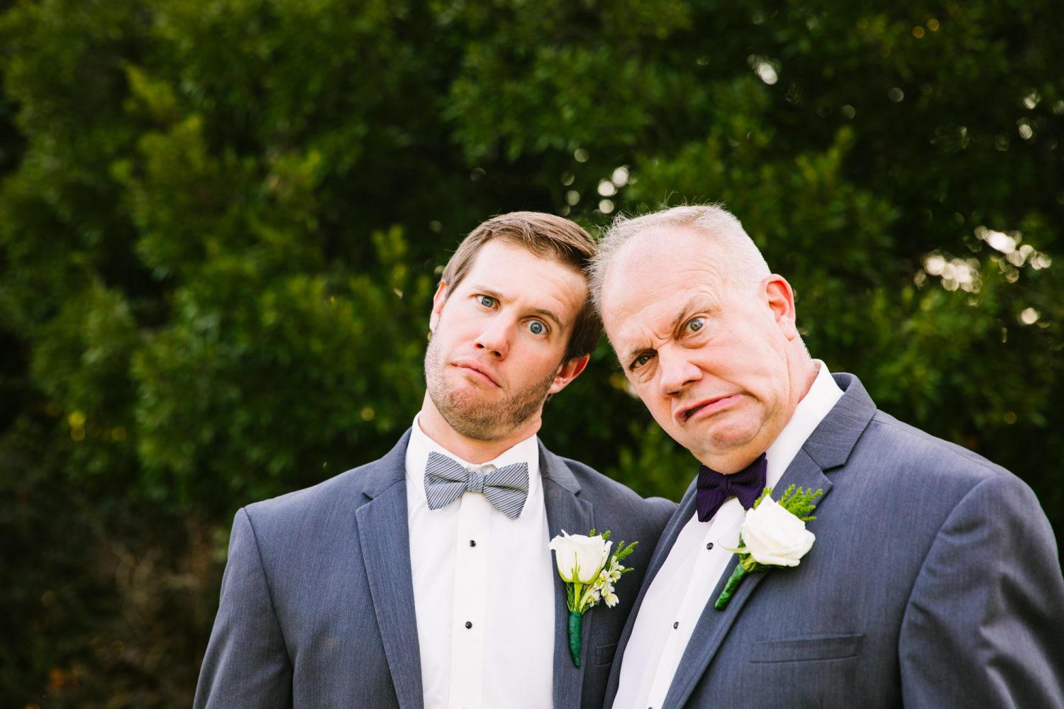 Waynesville, NC Wedding Photography | Father and Groom Goofy Portrait
