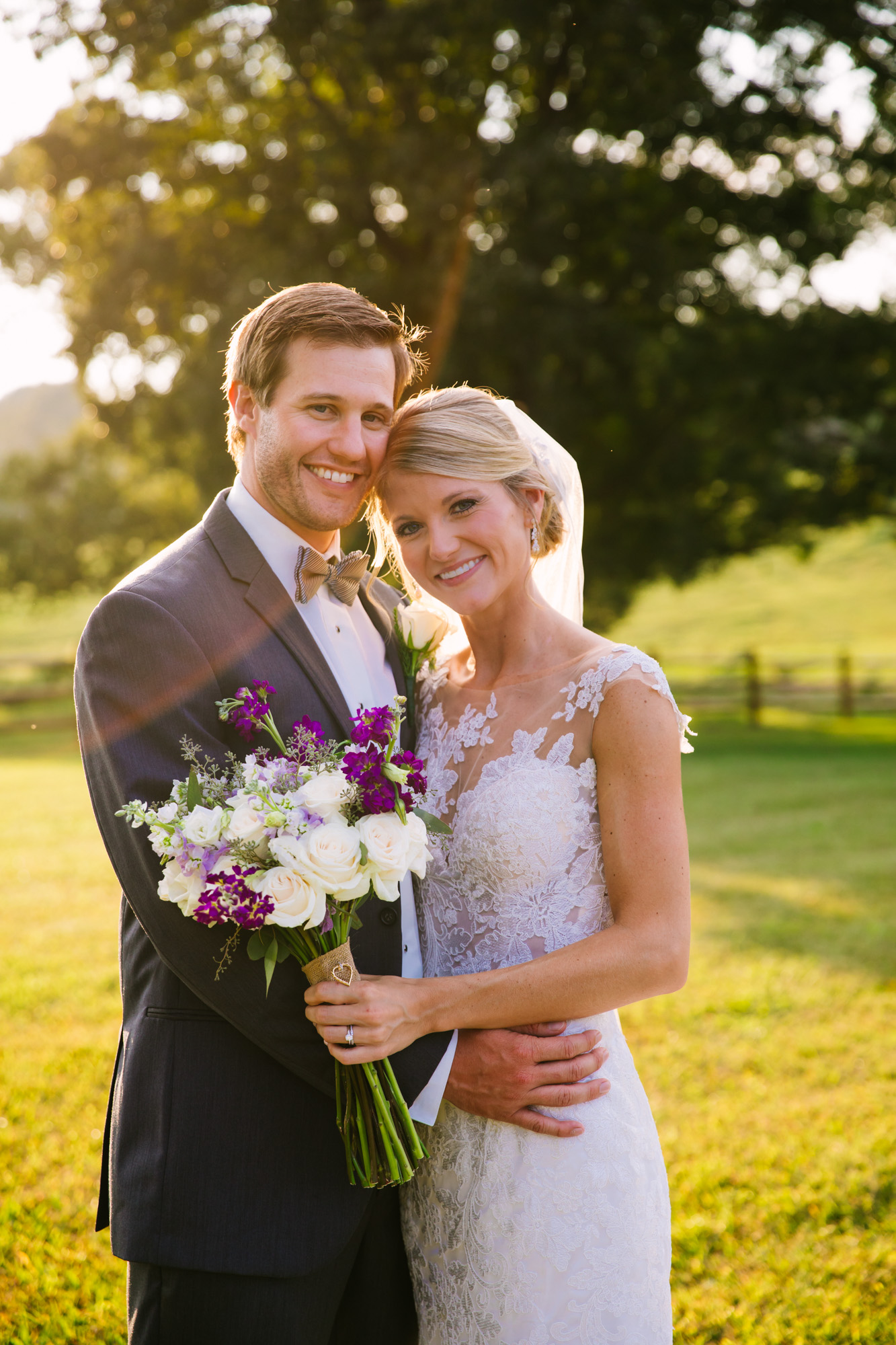 Waynesville, NC Wedding Photography | Bride and Groom Smiling in the Sun Flare