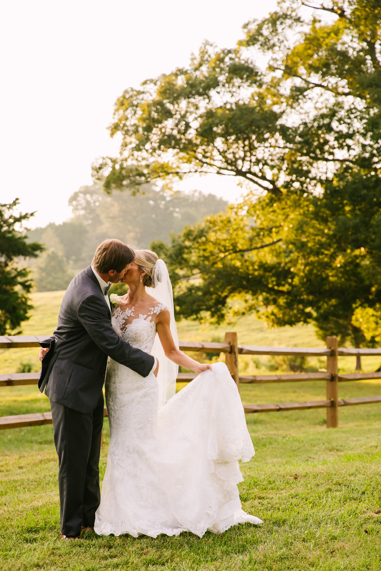 Waynesville, NC Wedding Photography | Bride and Groom Kissing on the Farm