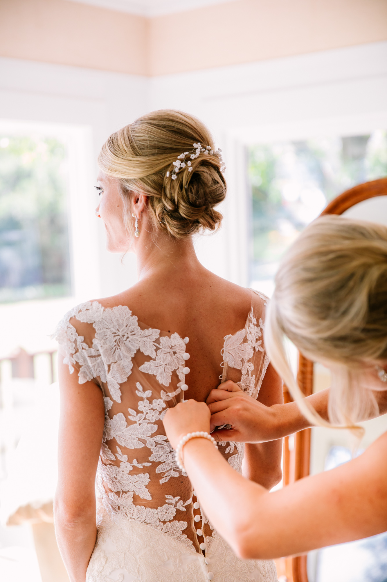 Waynesville, NC Wedding Photography | Bridal Preparation Mother Buttons Dress