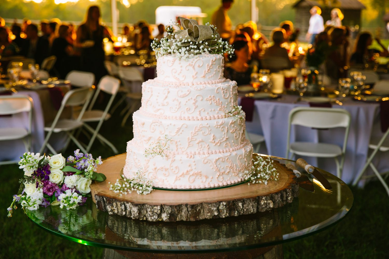 Waynesville, NC Wedding Photography | Wedding Cake at Sunset