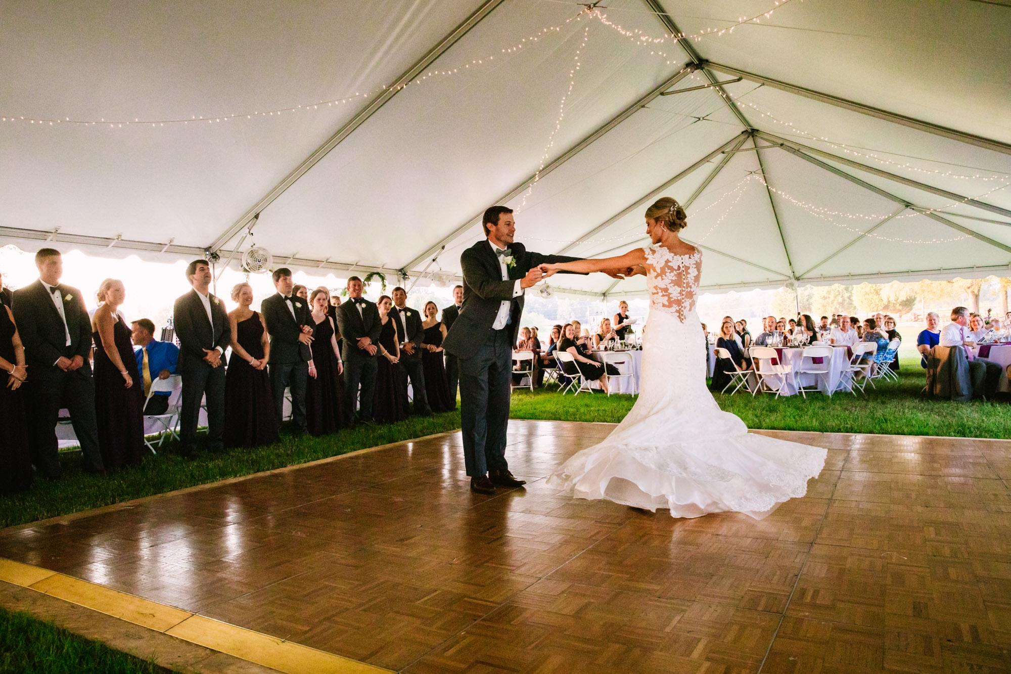 Waynesville, NC Wedding Photography | Bride and Groom First Dance Dress Swirling